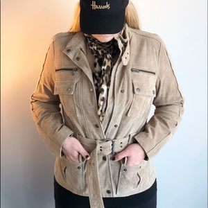 Zara Beige Safari brushed leather jacket